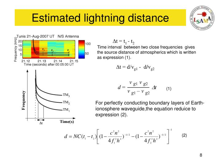 Estimated lightning distance