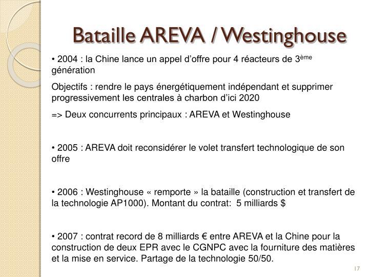 Bataille AREVA / Westinghouse
