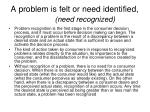 a problem is felt or need identified need recognized