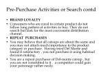 pre purchase activities or search contd1