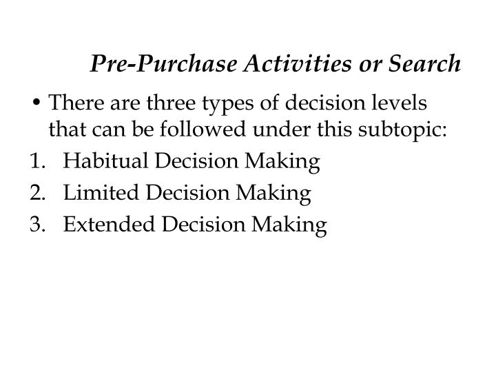 Pre-Purchase Activities or Search