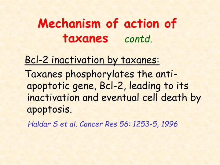 Mechanism of action of taxanes