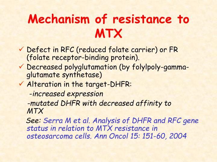 Mechanism of resistance to MTX