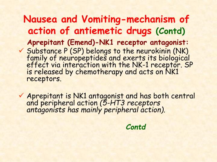 Nausea and Vomiting-mechanism of action of antiemetic drugs