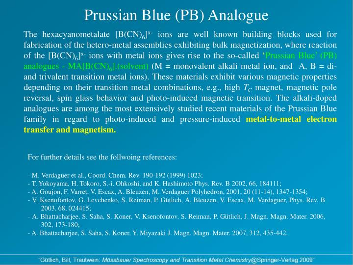 Prussian blue pb analogue
