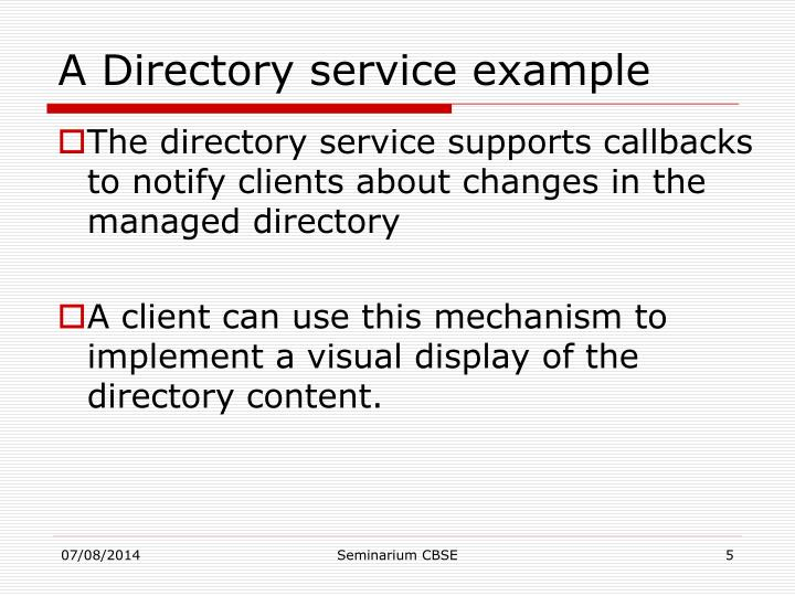 A Directory service example