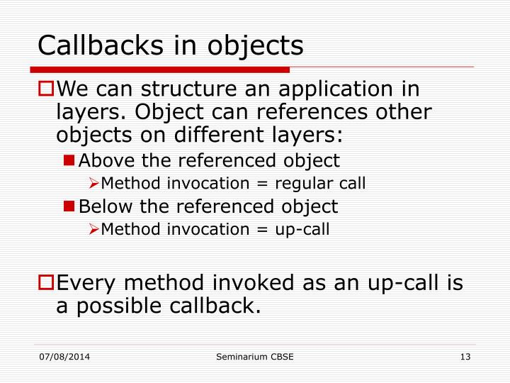 Callbacks in objects