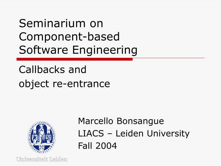 Seminarium on component based software engineering