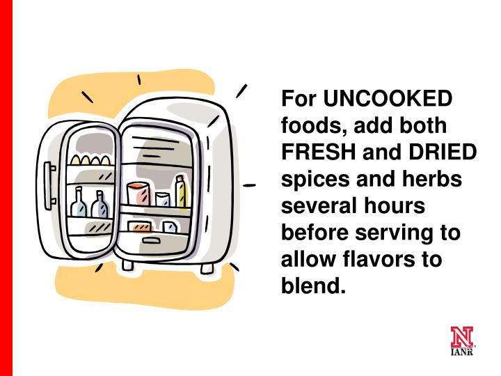 For UNCOOKED foods, add both