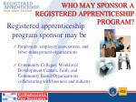 who may sponsor a registered apprenticeship program