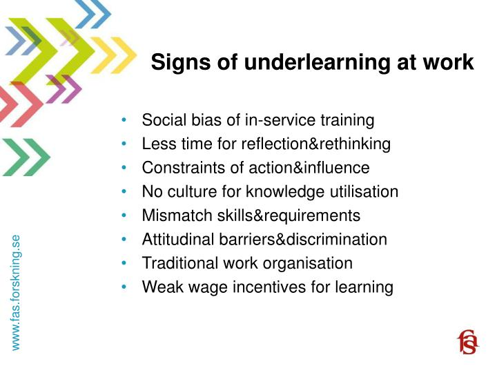 Signs of underlearning at work