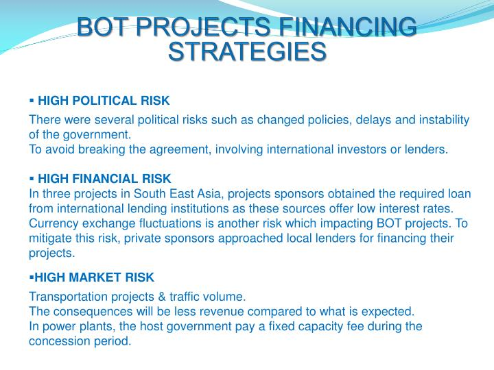 BOT PROJECTS FINANCING STRATEGIES
