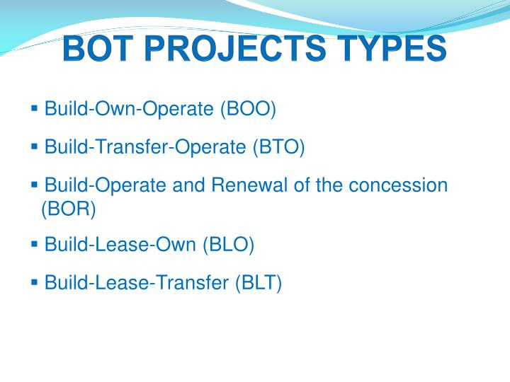 BOT PROJECTS TYPES