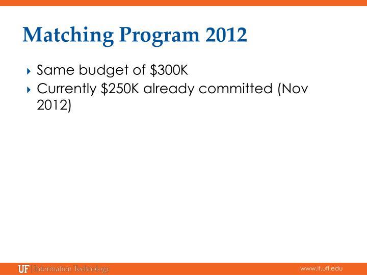Matching Program 2012