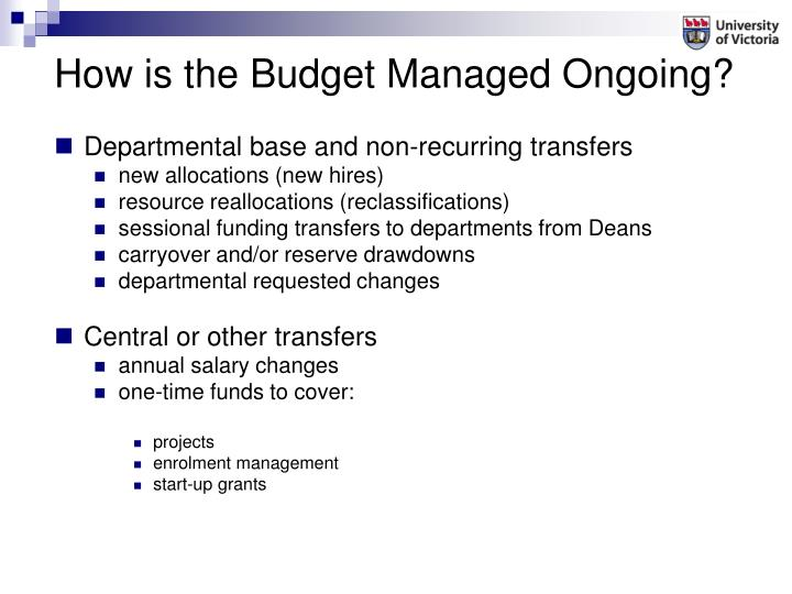 How is the Budget Managed Ongoing?
