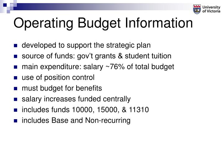 Operating Budget Information