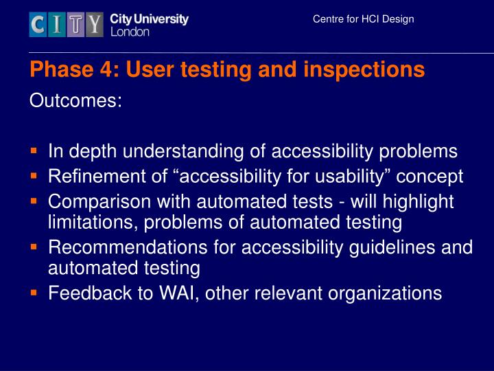 Phase 4: User testing and inspections