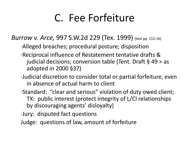 C.  Fee Forfeiture