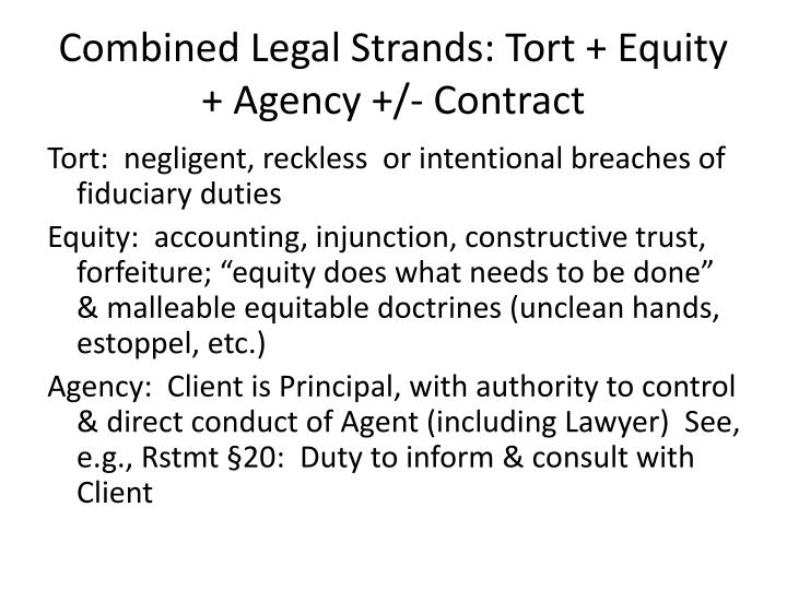 Combined Legal Strands: Tort + Equity +