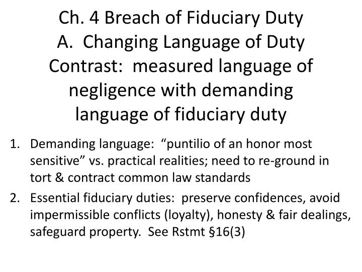 Ch. 4 Breach of Fiduciary
