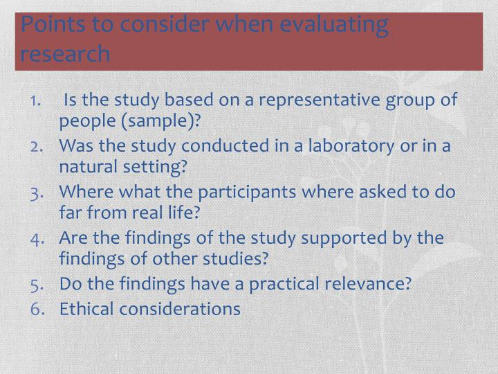Is the study based on a representative group of people (sample)?