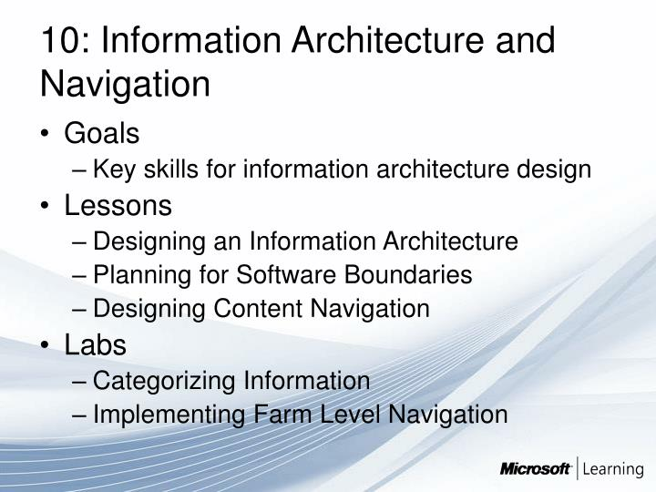 10: Information Architecture and Navigation