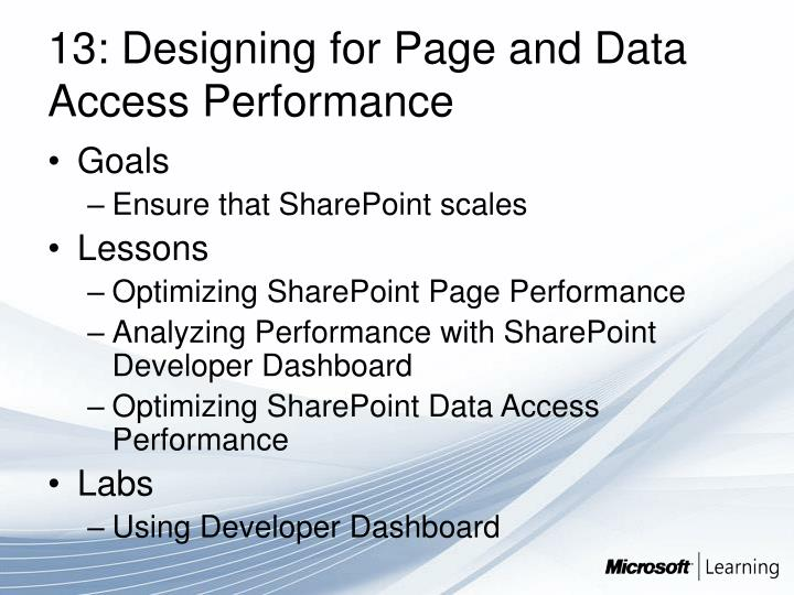 13: Designing for Page and Data Access Performance