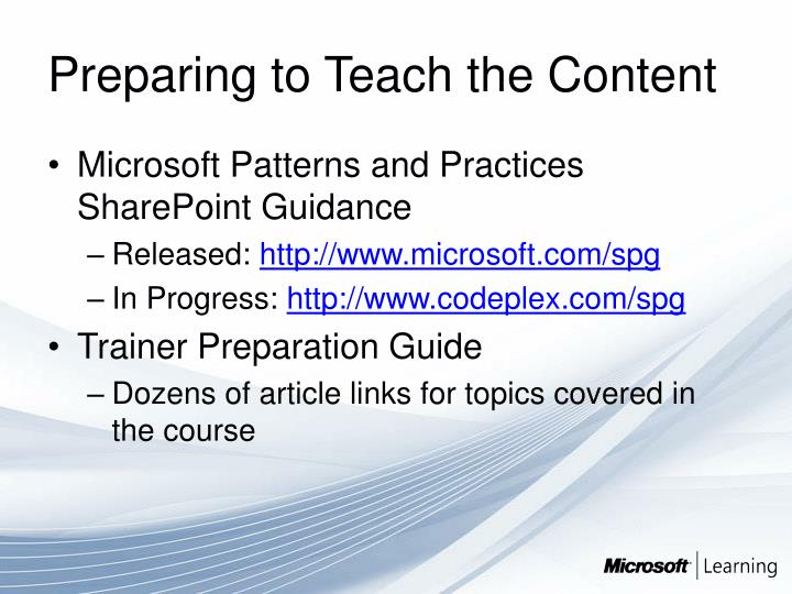Preparing to Teach the Content
