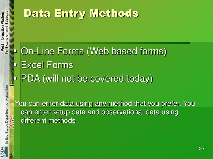 Data Entry Methods
