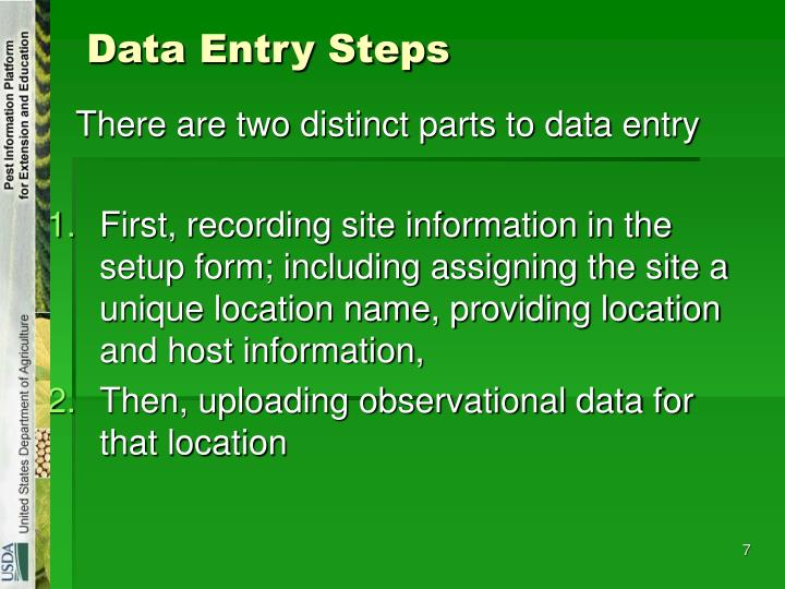 Data Entry Steps