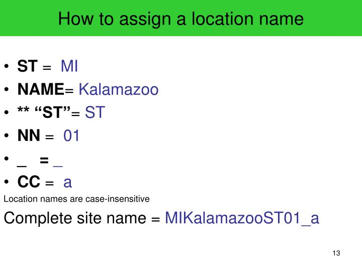 How to assign a location name