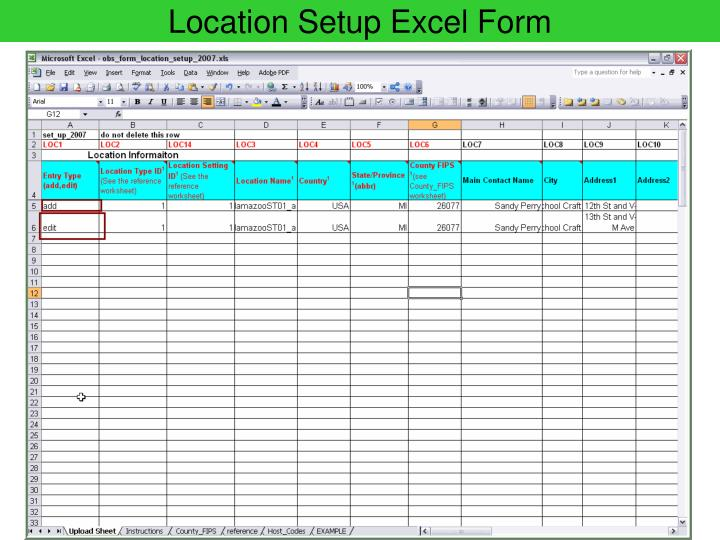 Location Setup Excel Form