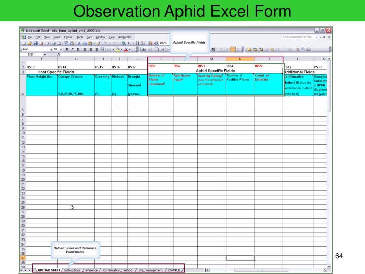 Observation Aphid Excel Form