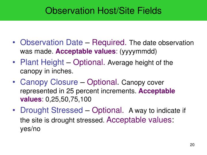Observation Host/Site Fields