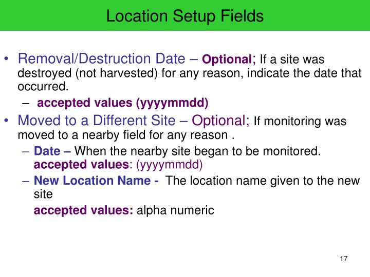 Location Setup Fields