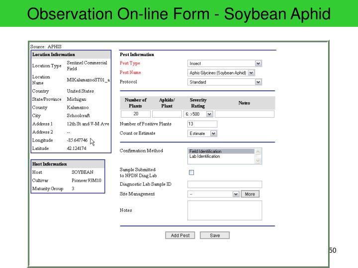 Observation On-line Form - Soybean Aphid