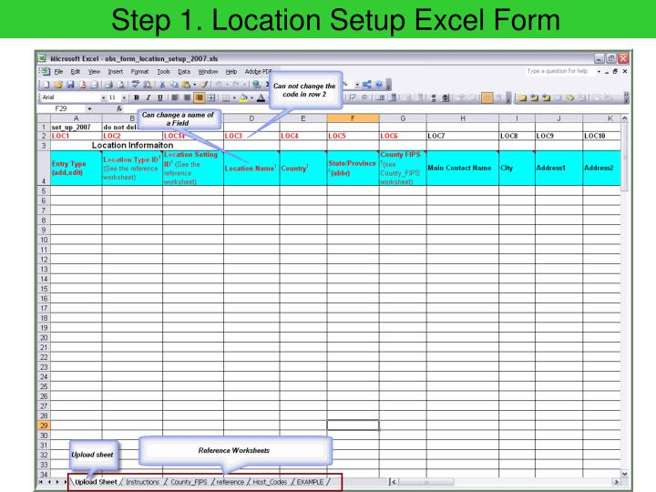 Step 1. Location Setup Excel Form