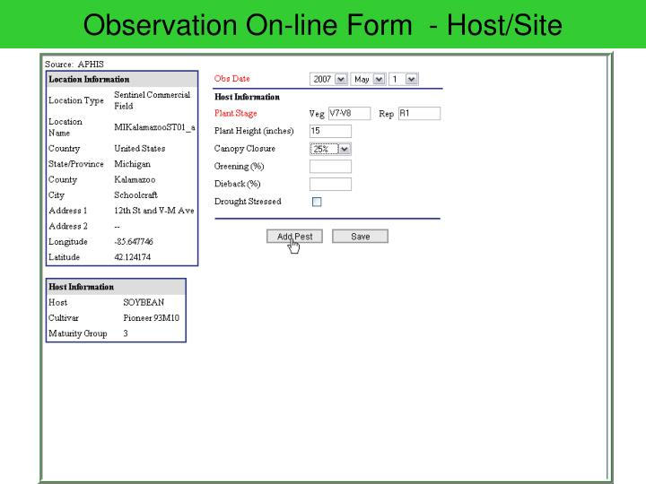 Observation On-line Form  - Host/Site