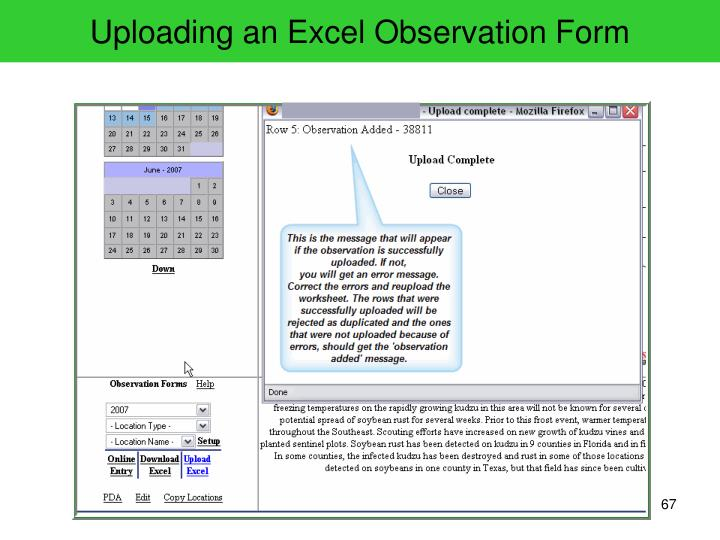 Uploading an Excel Observation Form
