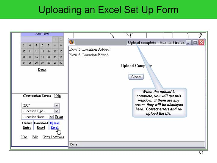 Uploading an Excel Set Up Form