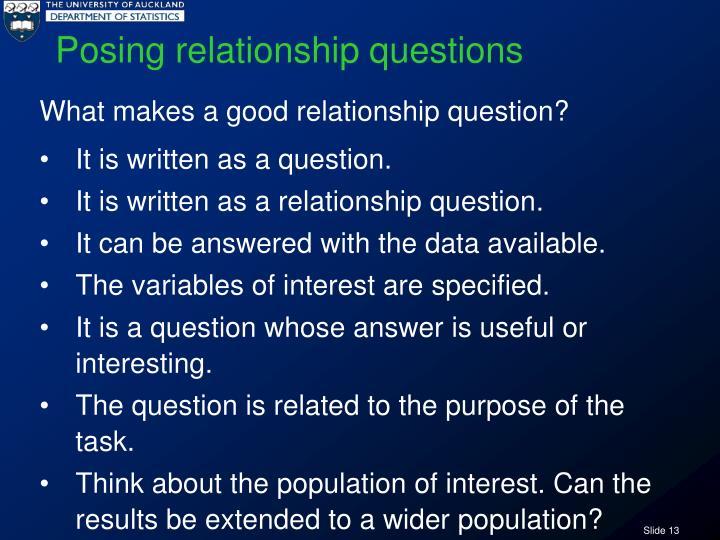 Posing relationship questions