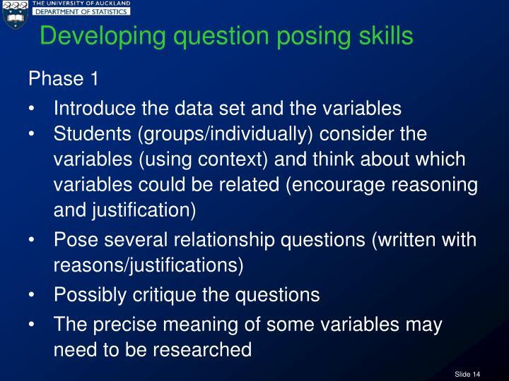 Developing question posing skills