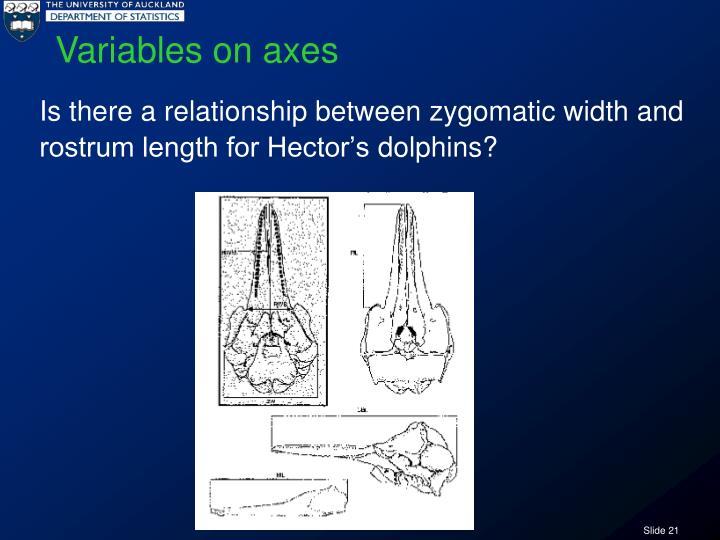 Variables on axes