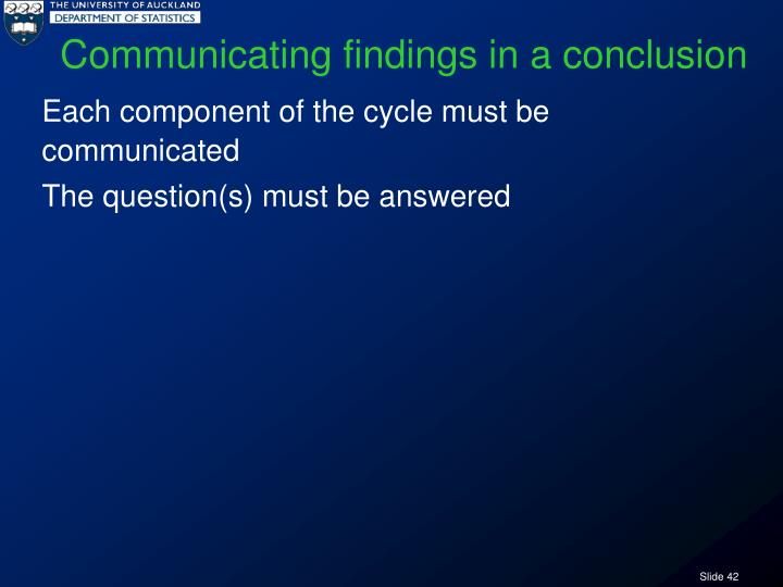 Communicating findings in a conclusion