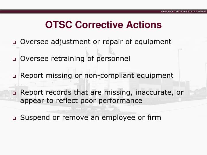 OTSC Corrective Actions