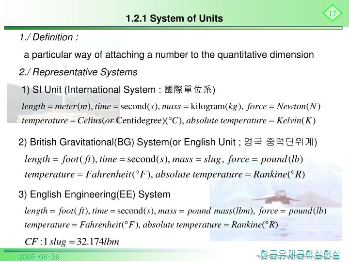 1.2.1 System of Units