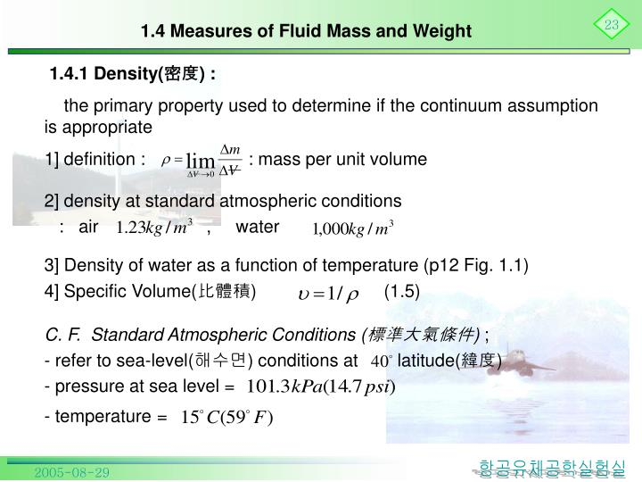 1.4 Measures of Fluid Mass and Weight