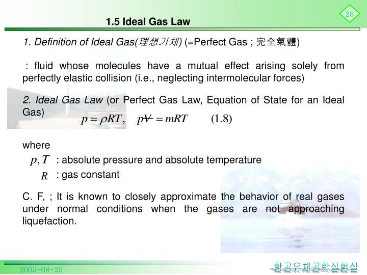 1.5 Ideal Gas Law