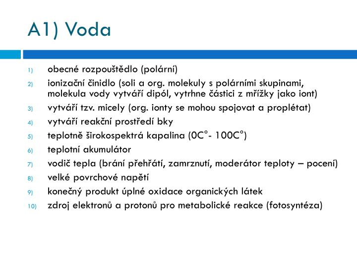 A1) Voda