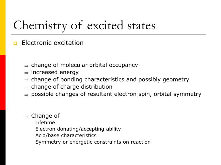 Chemistry of excited states